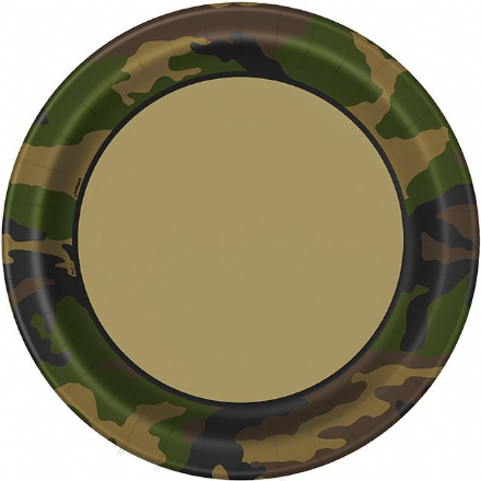 8 Military Camo Paper Party Plates